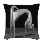 Art Deco Abstract Borzoi Grey Woven Throw Pillow