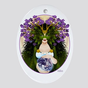 """Jord, Norse Earth Goddess"" Oval Ornament"