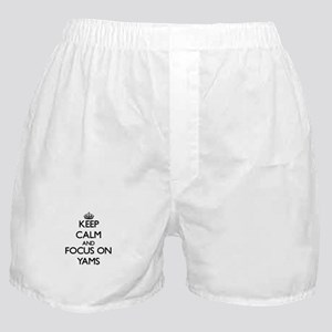 Keep Calm by focusing on Yams Boxer Shorts