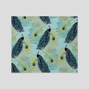 Vintage Peacock w Etched Swirls n Fe Throw Blanket
