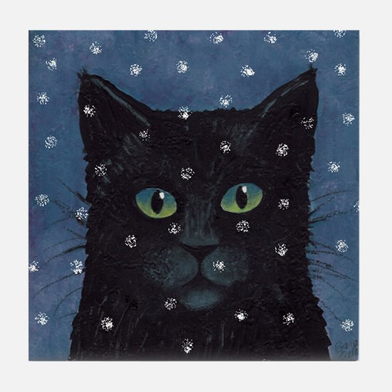 Black Cat in Snow Art Tile