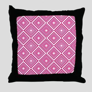Diamond Pattern Dark Pink and White Throw Pillow