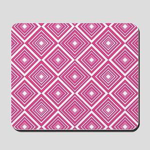 Diamond Pattern Dark Pink and White Mousepad