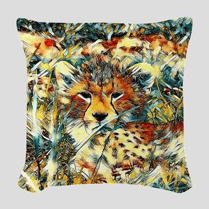 AnimalArt_Cheetah_20171001_by_ Woven Throw Pillow