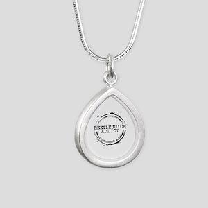 Beetlejuice Addict Stamp Silver Teardrop Necklace