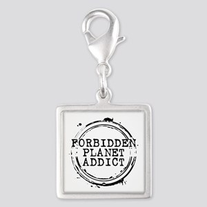 Forbidden Planet Addict Stamp Silver Square Charm