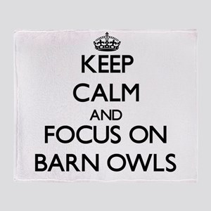 Keep Calm by focusing on Barn Owls Throw Blanket