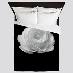 BLACK AND WHITE ROSE FLOWER Queen Duvet
