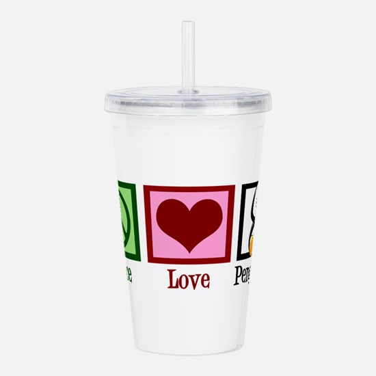 Peace Love Penguins Acrylic Double-wall Tumbler
