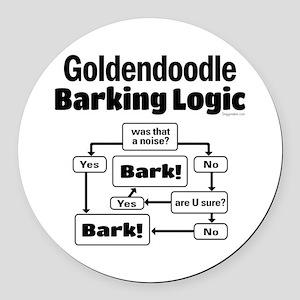 Goldendoodle Logic Round Car Magnet