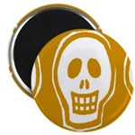 Skull on yellow background Magnet