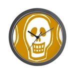 Skull on yellow background Wall Clock
