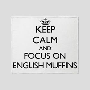 Keep Calm by focusing on English Muf Throw Blanket