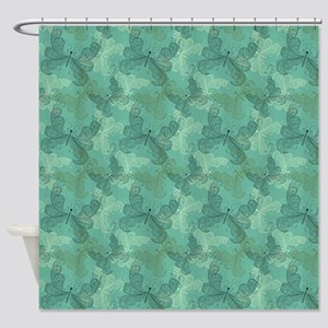 Teal Butterfly Elegance Shower Curtain