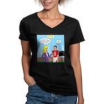 Sports and Grades Women's V-Neck Dark T-Shirt