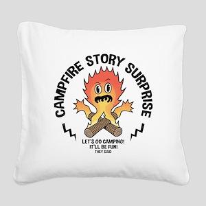Campfire Surprise Square Canvas Pillow