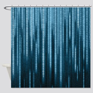 Blue Binary Rain Shower Curtain