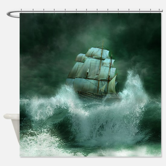 Ship in Storm Shower Curtain