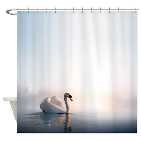 Swan Sunrise Shower Curtain By FantasyArtDesigns
