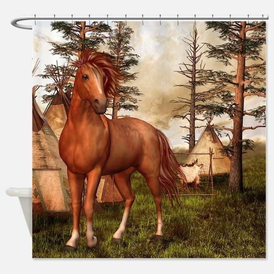 Native American Horse Shower Curtain