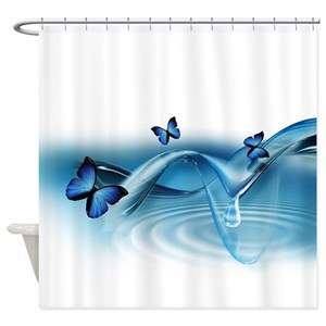 Blue Butterflies Shower Curtains