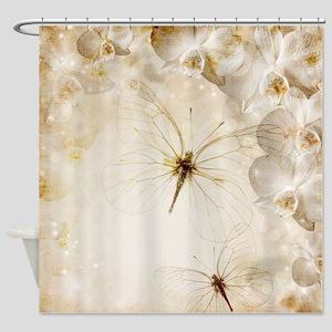 Transparent Butterflies Shower Curtain