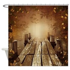 Autumn Fishing Pier Shower Curtain
