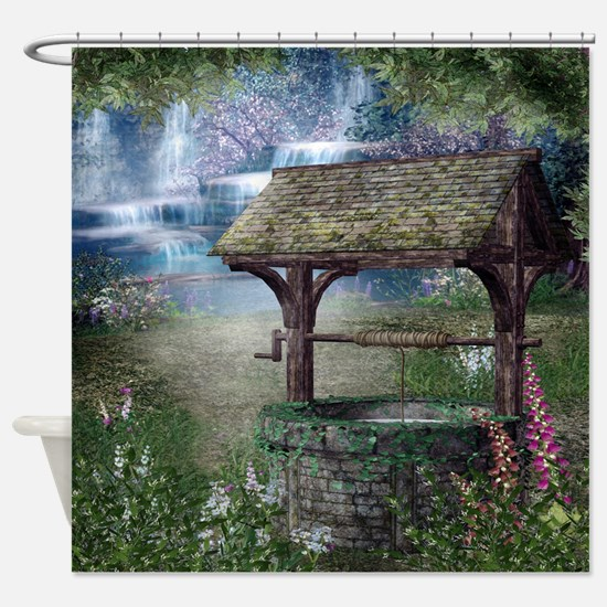 Wishing Well Waterfall Shower Curtain