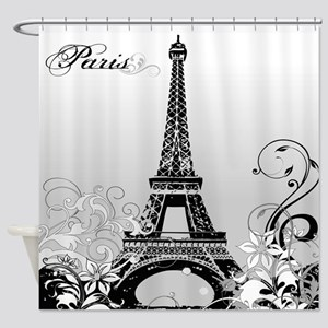 Eiffel Tower Paris B/W Shower Curtain