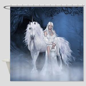 White Lady and Unicorn Shower Curtain
