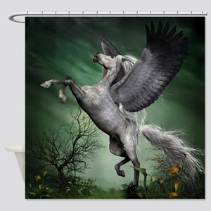 Grey Pegasus Shower Curtain
