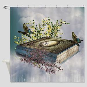 Fairytale Book Butterflies Shower Curtain