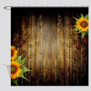 Butterflies and Sunflowers Shower Curtain