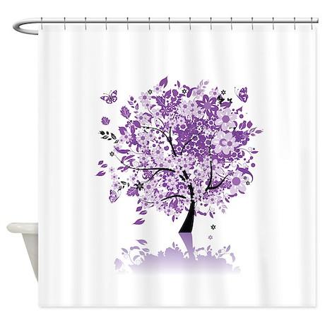 purple floral tree shower curtain by fantasyartdesigns. Black Bedroom Furniture Sets. Home Design Ideas