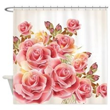 Artistic Pink Roses Shower Curtain