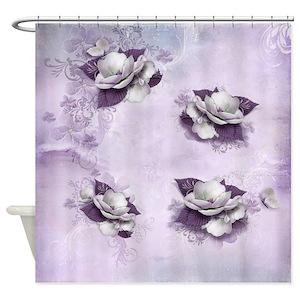 Violet Flower Shower Curtains