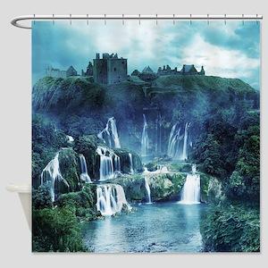 Gothic Ruin Waterfall Shower Curtain