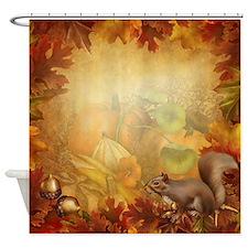 Thanksgiving Squirrel Shower Curtain
