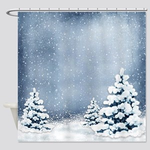 Cute Snowy Pine Trees Shower Curtain
