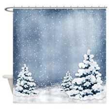 Cute Snowy Pine Trees Shower Curtain