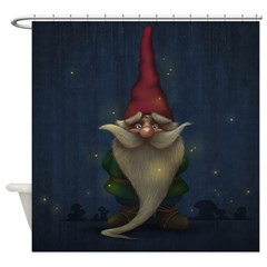 Old Christmas Gnome Shower Curtain