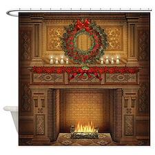 Christmas Fireplace Shower Curtain