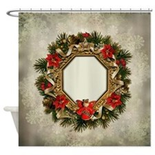 Old Christmas Wreath Shower Curtain
