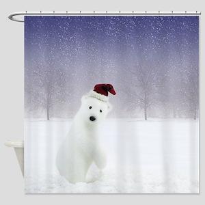 Christmas Polar Bear Shower Curtain