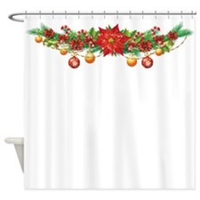 Christmas Poinsettia Garland Shower Curtain