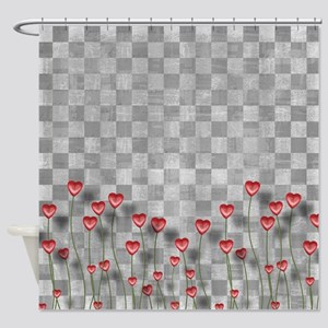 Chess Love Hearts Shower Curtain