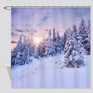 Winter Pine Forest Shower Curtain
