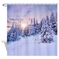 Winter Pine Forest Shower Curtain