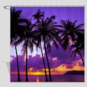 Purple Tropical Sunset 3 Shower Curtain