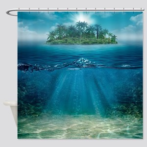 Tropical Island Seabottom Shower Curtain